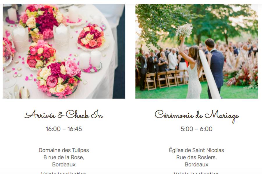 mariage et déroulé de mariage wedding planner site internet