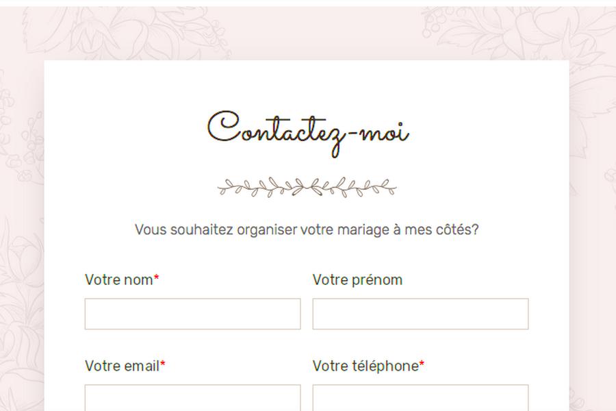 page de contact sur site internet wedding planner