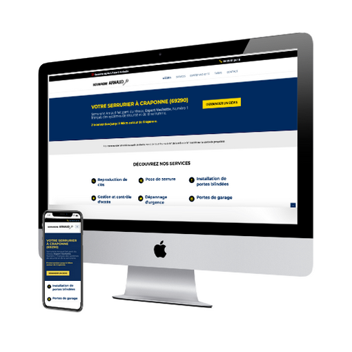 serrurerie arnaud site internet vitrine concu par vweb agence web Chamalières